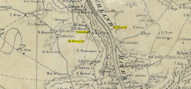 Dennis Family on Stewart County TN Map 1865