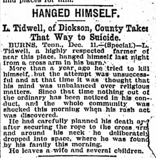 L Tidwell Death Notice