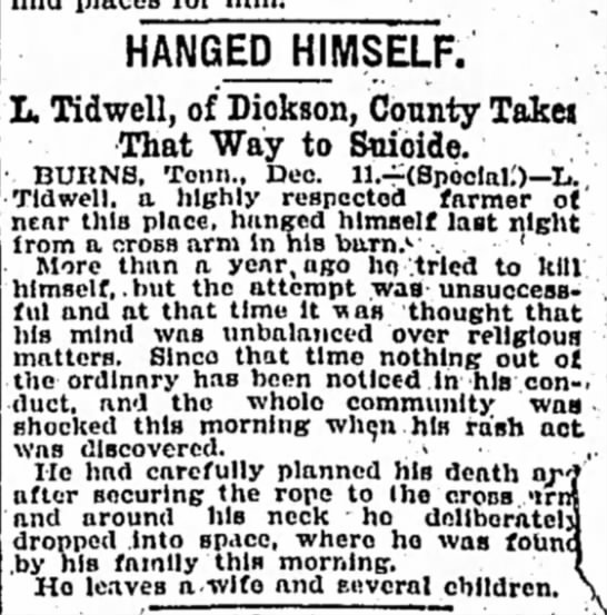 L Tidwell Death Notice