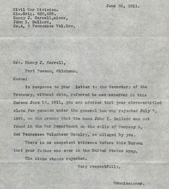 1911 Bullard Commissioner Letter