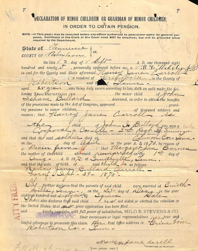 Minor Child Declaration - John Bullard's Daughter Nancy Jane