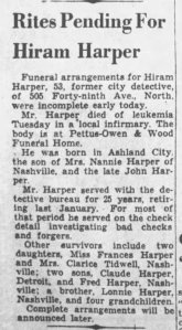 Hiram Harper Dies NB